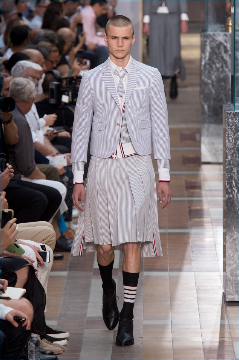 241d6cb9f9be Thom Browne presents its spring-summer 2018 men s collection during Paris  Fashion Week.