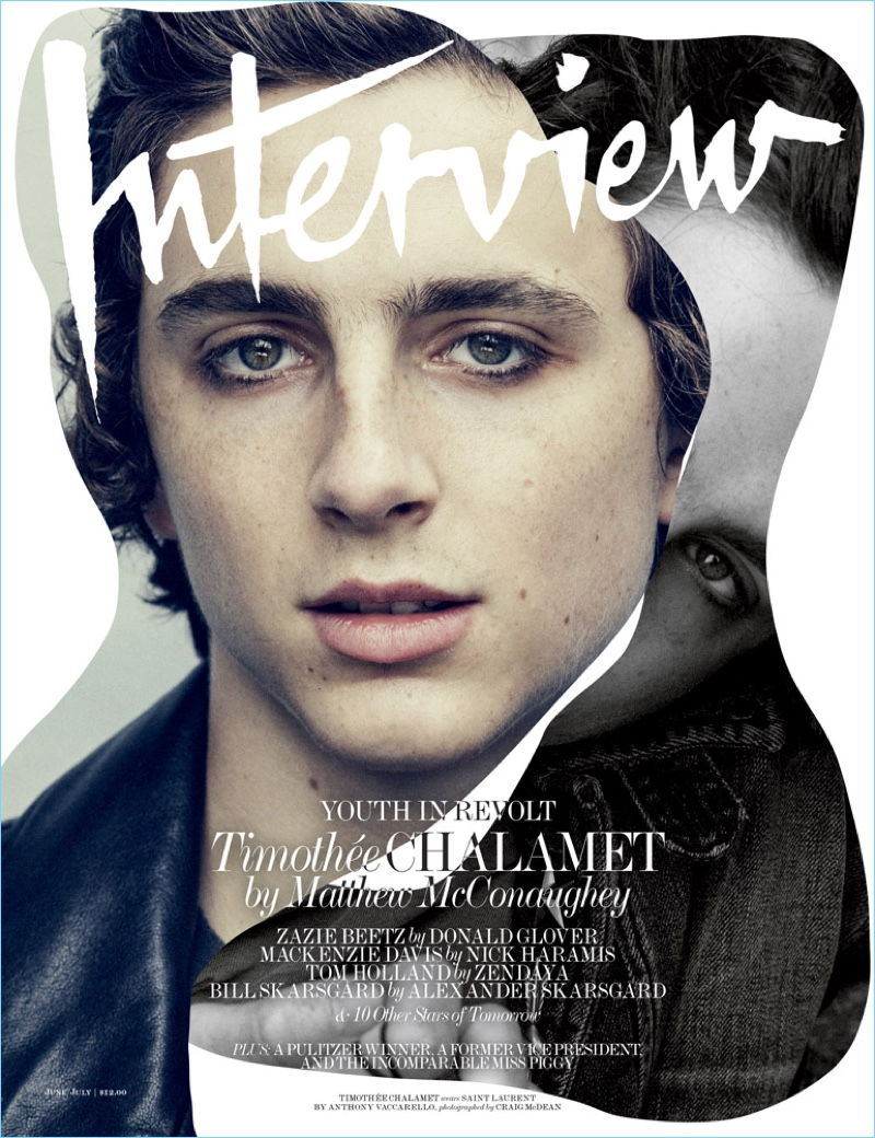 Timothée Chalamet covers the June/July 2017 issue of Interview magazine.