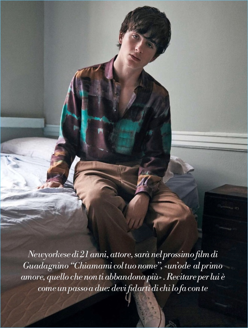 Timothée Chalamet wears a Boglioli shirt with Ermenegildo Zegna Couture trousers, and Converse sneakers.