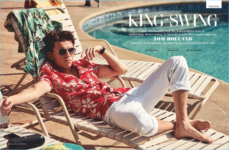 a89837f279d9 King of Swing  Tom Holland Relaxes Poolside with British GQ