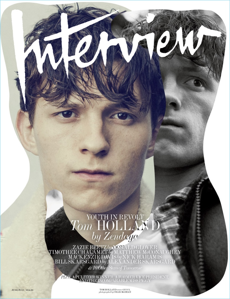 Tom Holland covers the June/July 2017 issue of Interview magazine.
