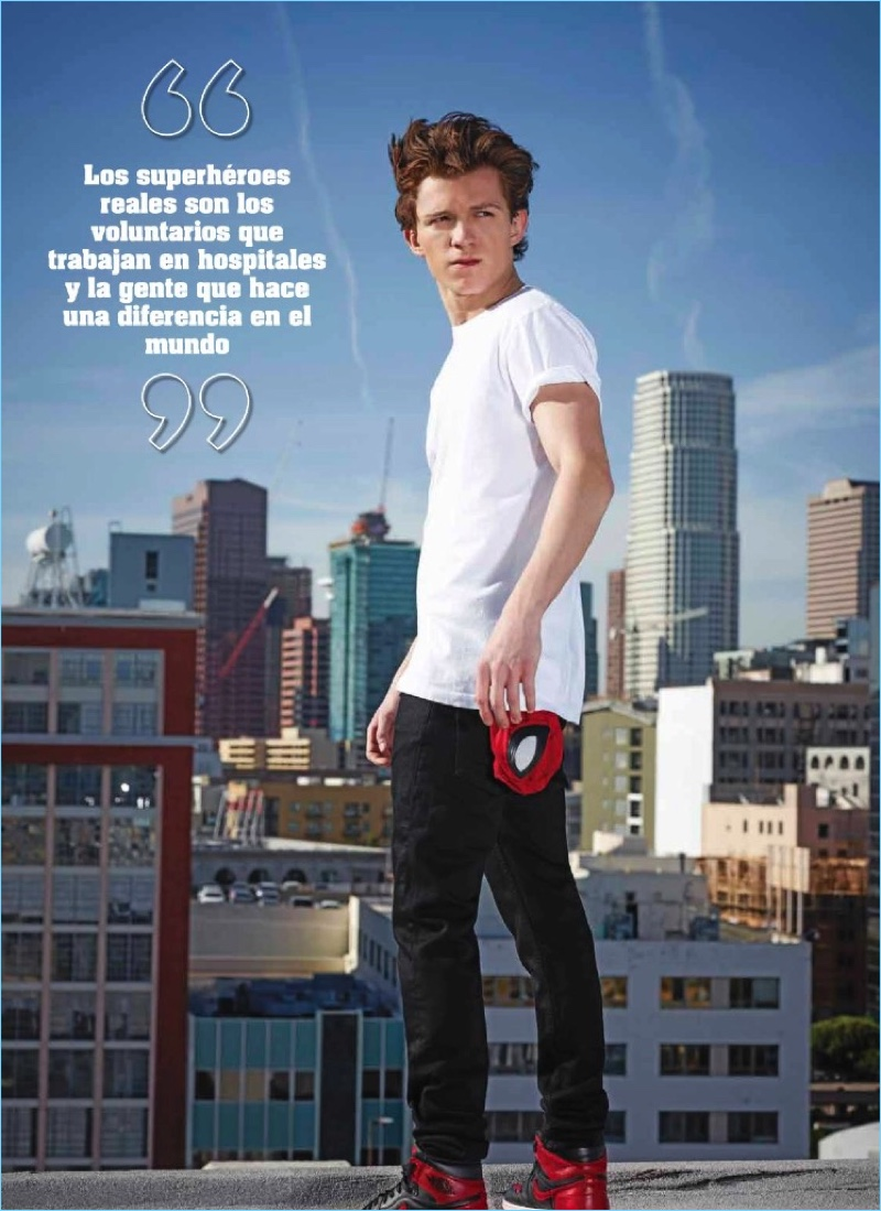 Taking to a rooftop, Tom Holland appears in a new photo shoot for Seventeen México.