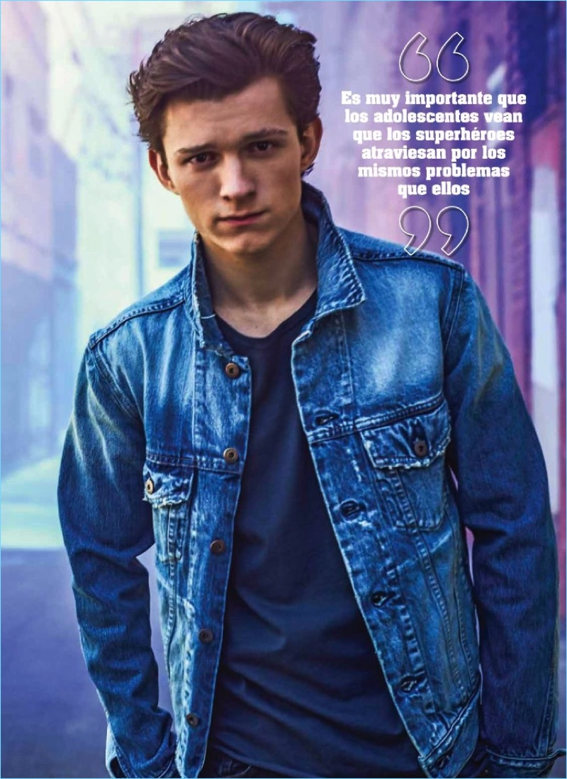 Sporting a denim jacket, Tom Holland graces the pages of Seventeen México.