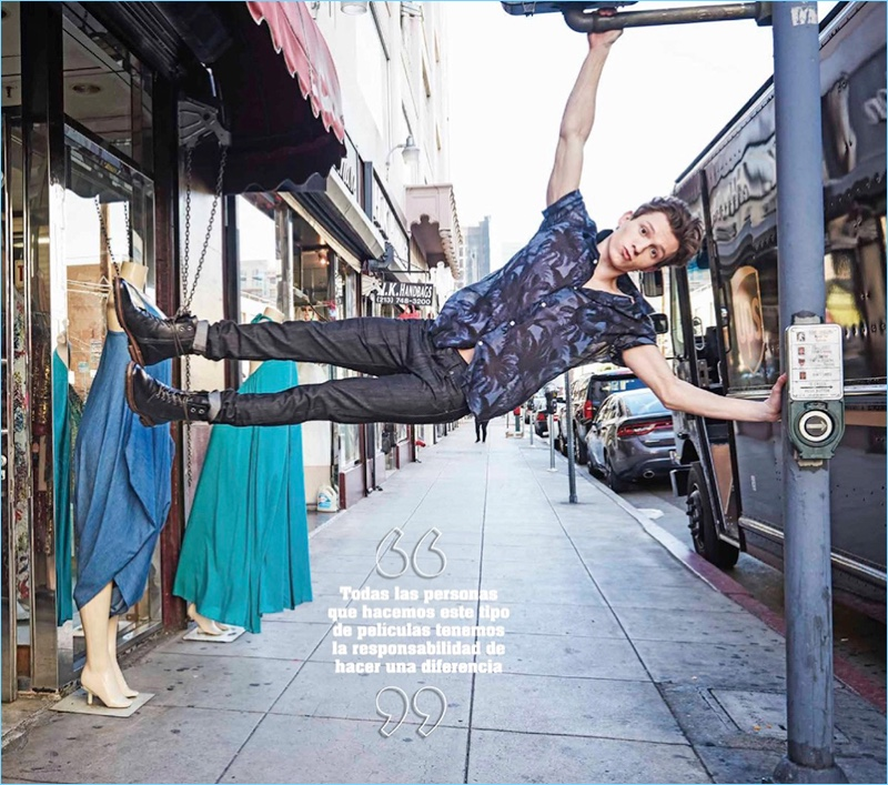 Actor Tom Holland shows off his flexibility and strength in a photo for Seventeen México.