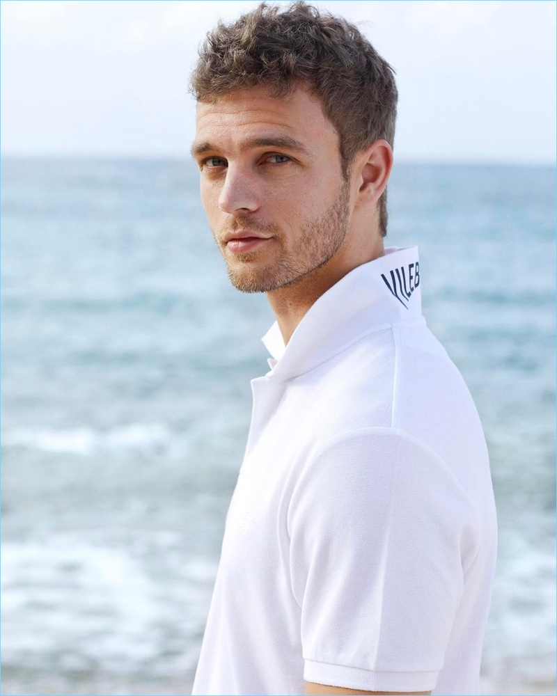 Swedish model Benjamin Eidem sports a white polo from Vilebrequin.