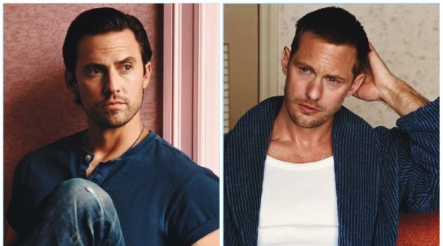 Actors Milo Ventimiglia and Alexander Skarsgård appear in a photo shoot for W magazine.