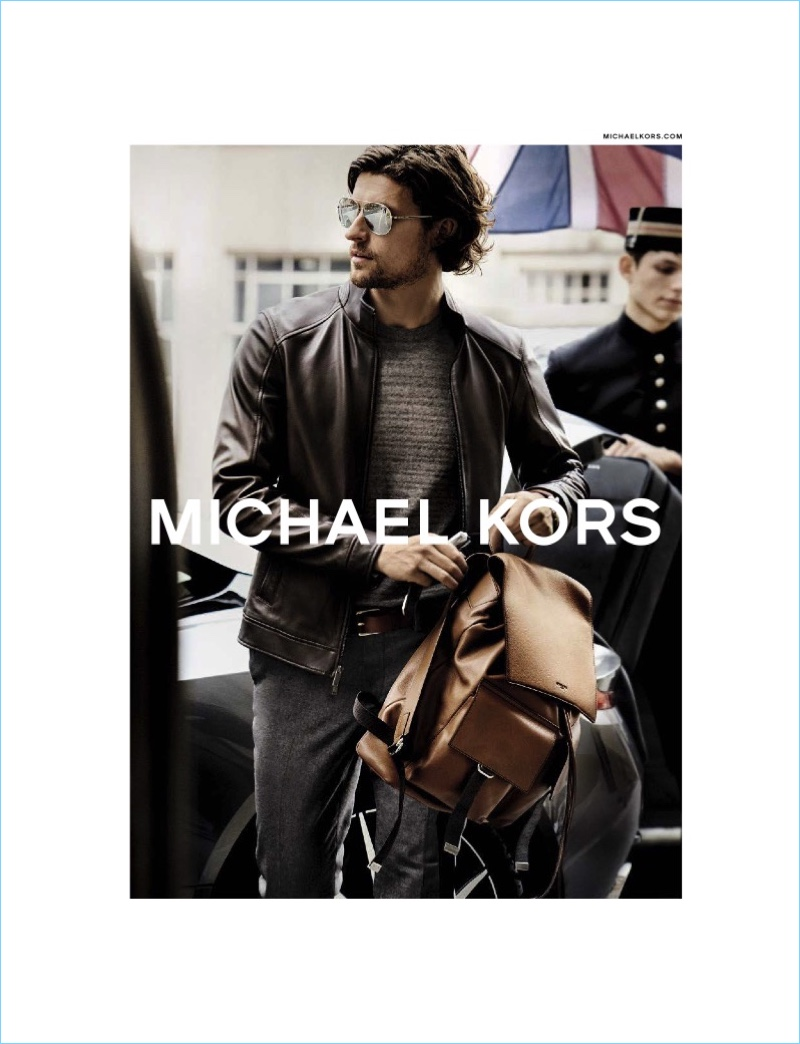 Dutch model Wouter Peelen reunites with Michael Kors for the brand's fall-winter 2017 campaign.
