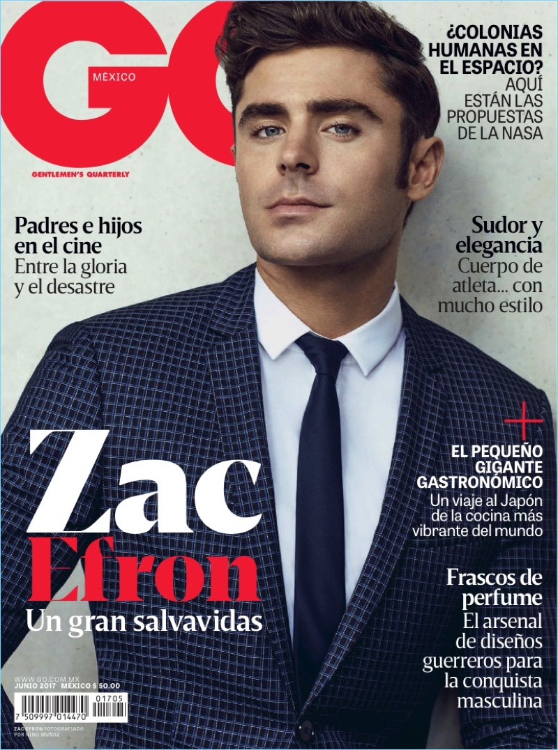 Zac Efron covers the June 2017 issue of GQ México.