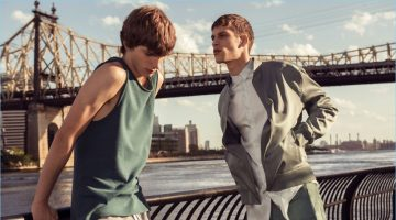 Models Erik van Gils and David Trulik sport fashions from Zara Man's sustainable collection.