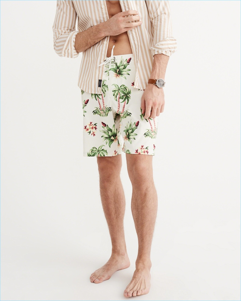 Abercrombie Fitch White Palm Tree Board Shorts