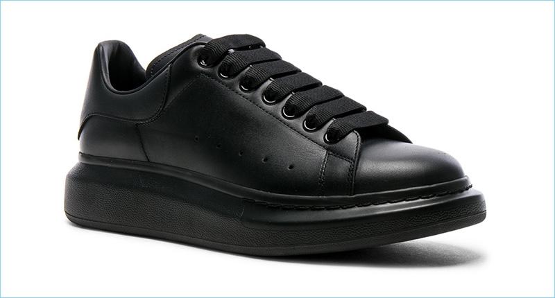 Alexander McQueen Black Leather Platform Sneakers
