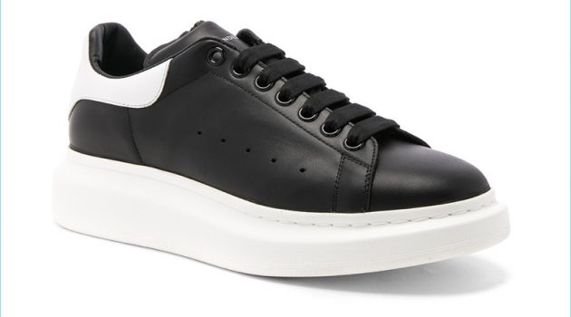 Alexander McQueen Black and White Leather Platform Sneakers