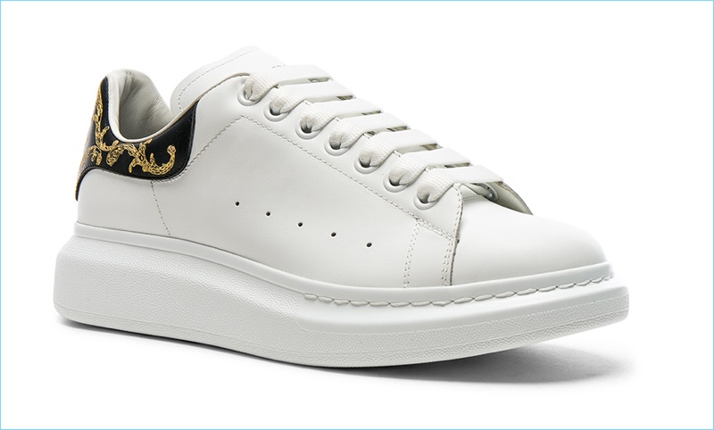 Alexander McQueen White Leather Platform Sneakers