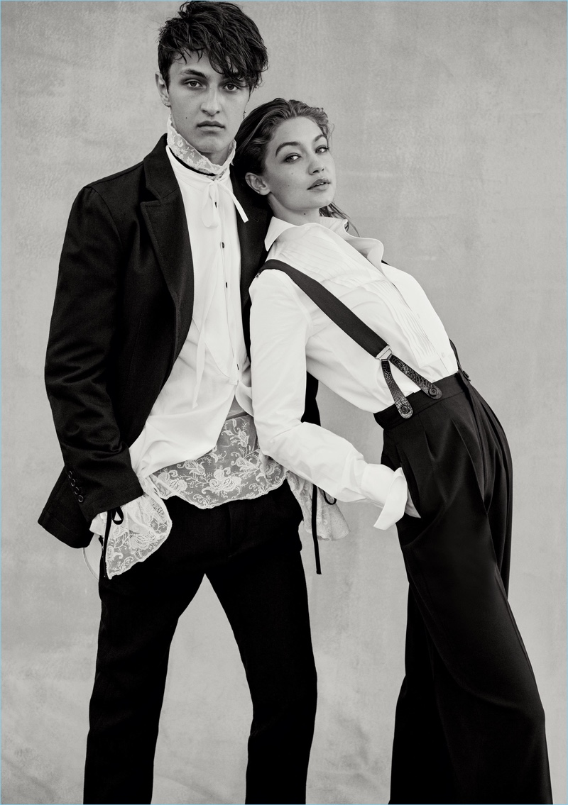 A model brother and sister pairing, Anwar and Gigi Hadid grace the pages of Vogue. Anwar wears a shirt, suit, and lace top by Ann Demeulemeester.