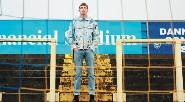 Deep Blue: Aubrey O'Mahony Rocks Denim Styles for Apollo Magazine