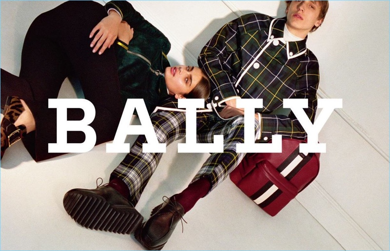 Taylor Hill and Antoine Duvernois appear in Bally's fall-winter 2017 campaign.