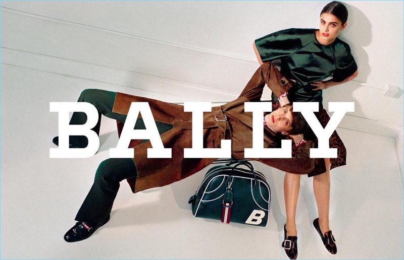 Models Antoine Duvernois and Taylor Hill come together for Bally's fall-winter 2017 campaign.