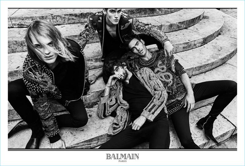 Ton Heukels, Presley Gerber, Marlon Teixeira, and Jon Kortajarena front Balmain's fall-winter 2017 men's campaign.