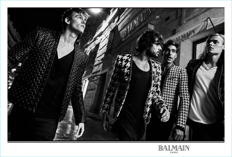Presley Gerber, Marlon Teixeira, Jon Kortajarena, and Ton Heukels star in Balmain's fall-winter 2017 men's campaign.