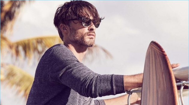 ORLEBAR BROWN sweater £145; NORTH STAR shorts £195; OLIVER PEOPLES sunglasses £234