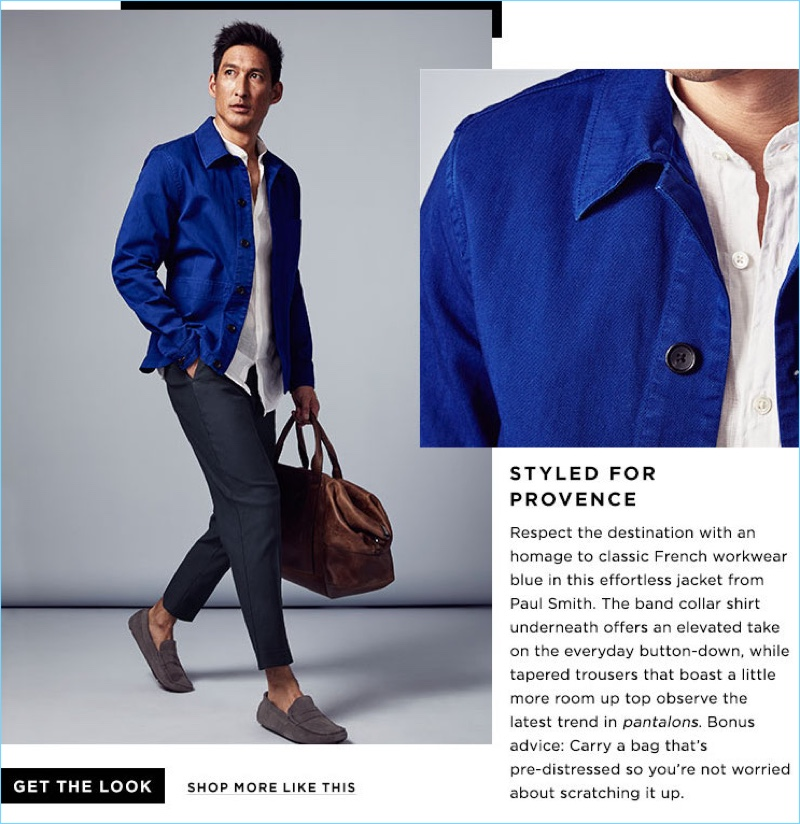 Styled for Provence: Bloomingdale's highlights French workwear-inspired style with a PS by Paul Smith shirt jacket $225. The look is complete with a Theory shirt $146.25, Vince cropped trousers $325, a Shinola carryall $1,295, and The Men's Store at Bloomingdale's penny drivers $99.