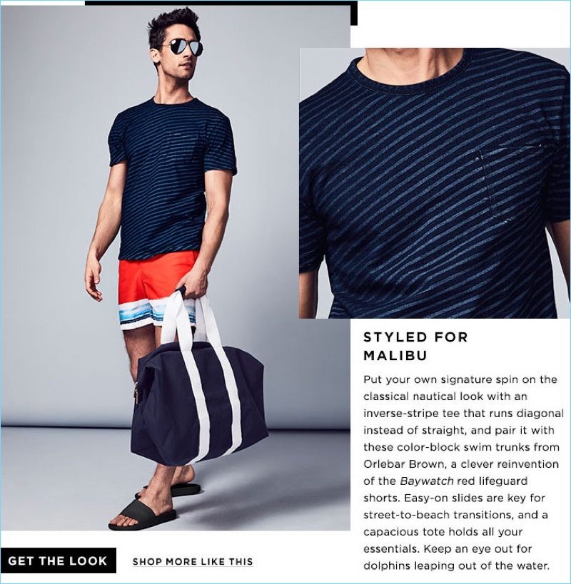 Styled for Malibu: Sunny California serves as inspiration for this look, which includes a Rag & Bone stripe tee $125 and Orlebar Brown swim trunks $206.25. The outfit also features Ray-Ban aviator sunglasses $195, a Saint Luke St. Ives weekender bag $198, and Brandblack slide sandals $40.