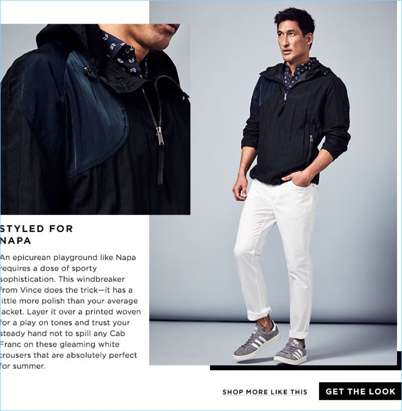 Styled for Napa: Dress for Napa with this Vince windbreaker jacket $550 and Michael Kors shirt $95.60. Finish the ensemble with white pants and Adidas campus sneakers $80.