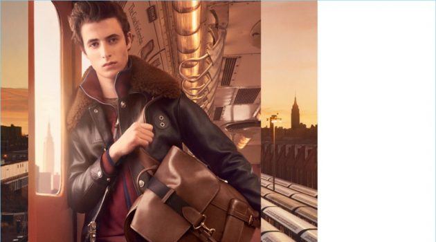 Oscar Kindelan takes hold of Coach's brown leather Bleeker backpack $698 for the brand's fall-winter 2017 campaign.