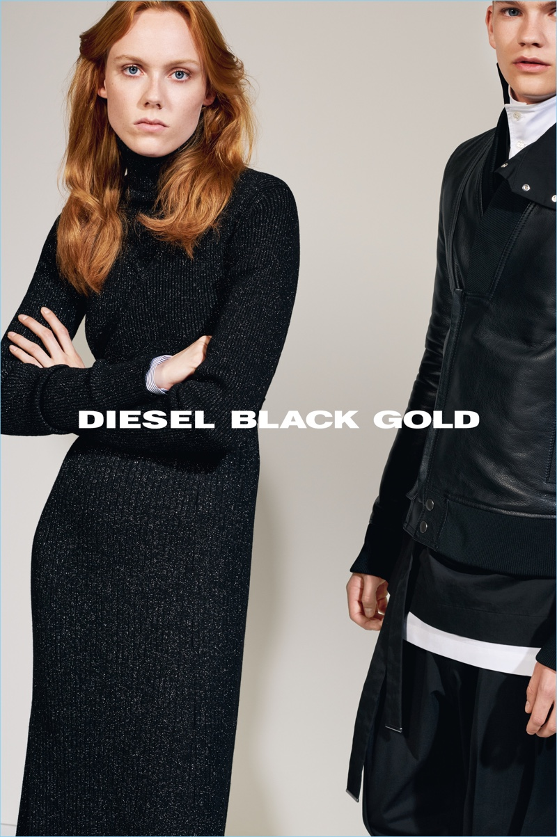 Collier Schorr photographs Kiki Willems and Jordy Gerritsma for Diesel Black Gold's fall-winter 2017 campaign.