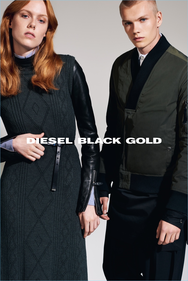 Kiki Willems and Jordy Gerritsma star in Diesel Black Gold's fall-winter 2017 campaign.