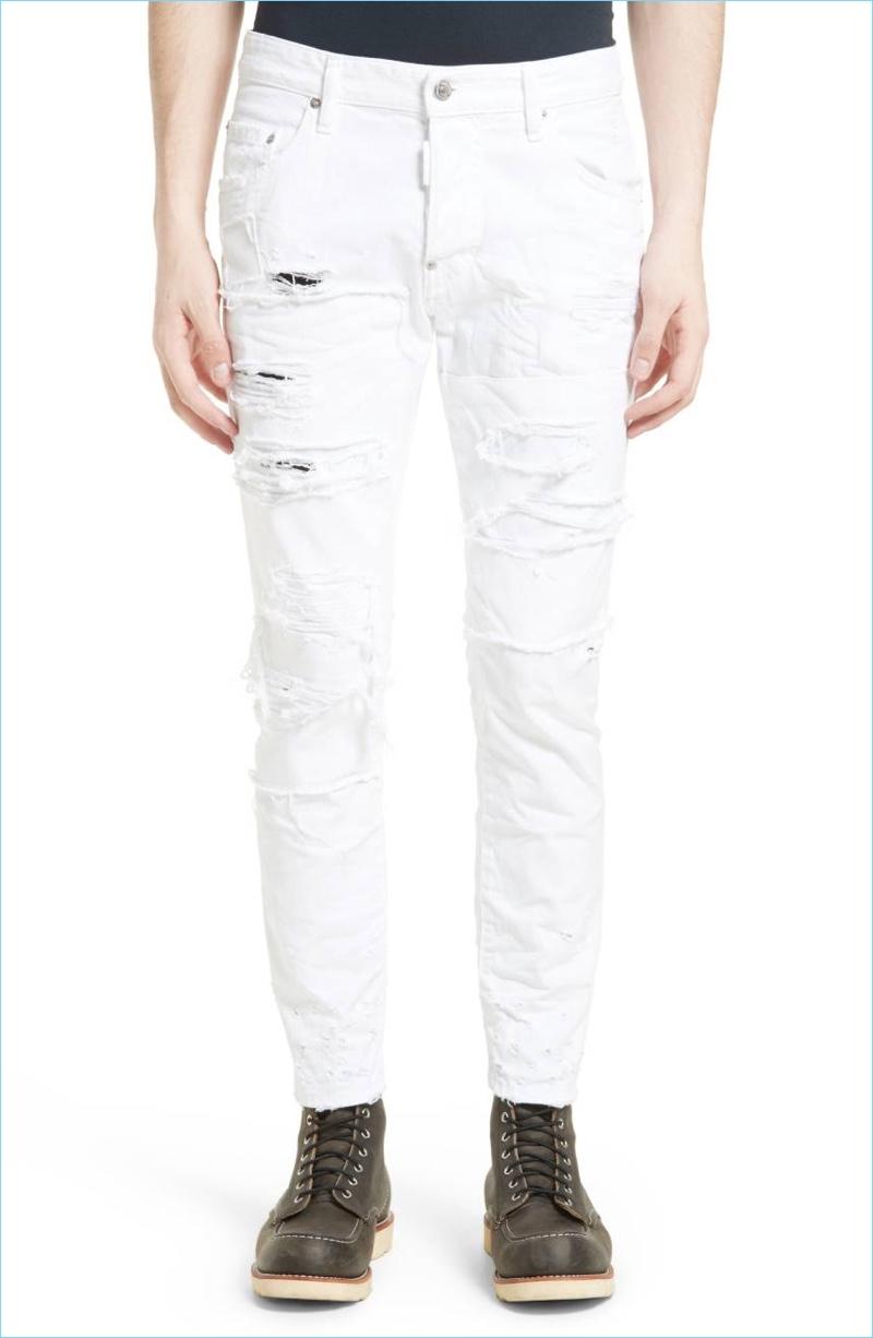 Dsquared2 White Shredded Jeans