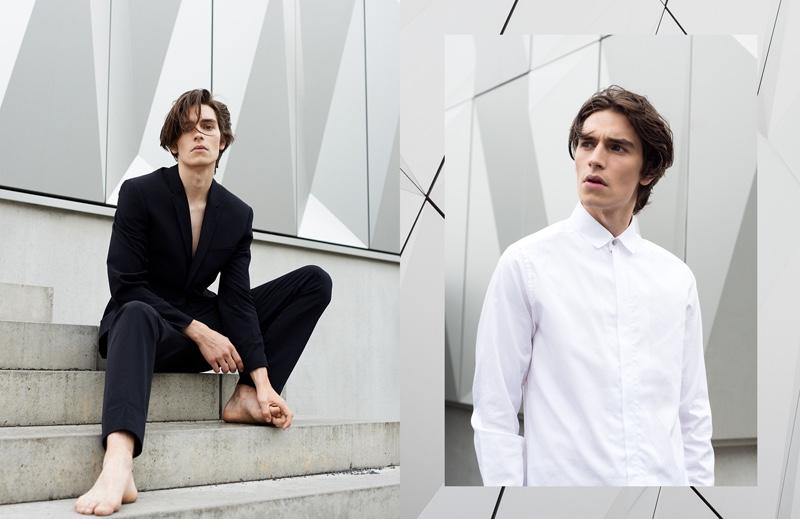 Left: Leon wears suitPorsche Design. Right: He wears shirtTiger of Sweden.