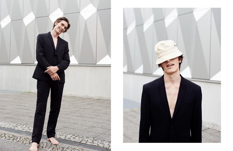 Left: Leon wears suit Porsche Design. Right:Leon wears hatStutterheim