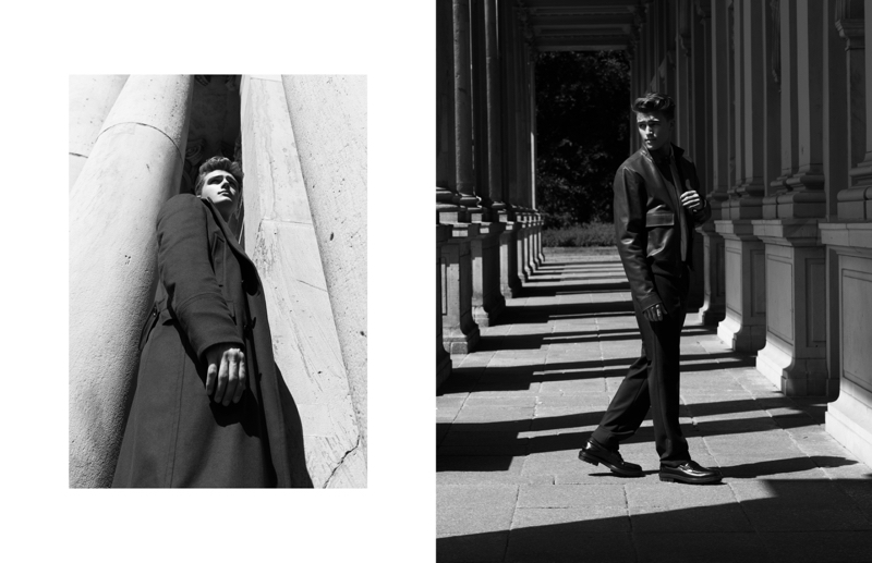 Exploring Berlin, Niclas wears Hugo Boss staples such as the leather jacket and overcoat.