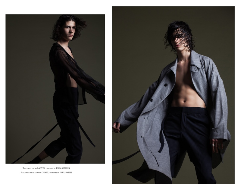 Left: Lucas wears top Lanvin and trousers Joey Samson. Right: Lucas wears coat Cadet and trousers Paul Smith.