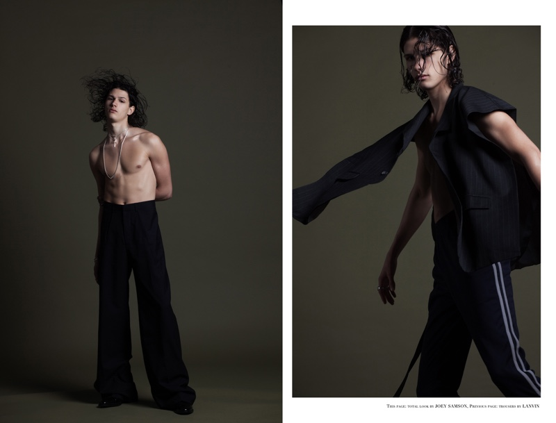 Left: Lucas wears trousers Lanvin. Right: Lucas wears all clothes Joey Samson.