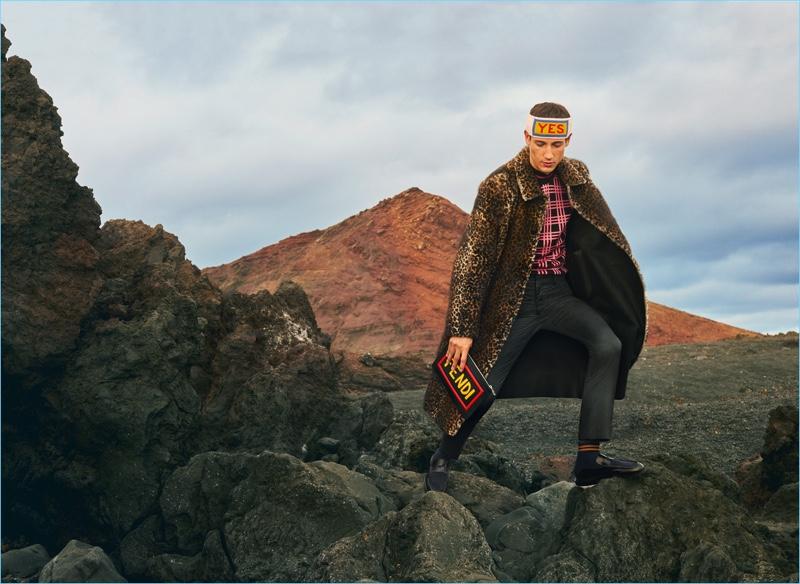 Making a statement in a leopard print coat, Nicolas Ripoll stars in Fendi's fall-winter 2017 men's campaign.