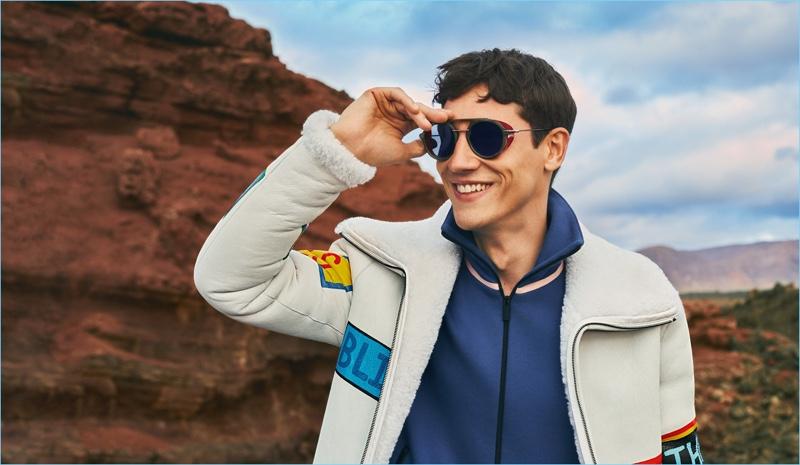 All smiles, Nicolas Ripoll stars in Fendi's fall-winter 2017 men's campaign.