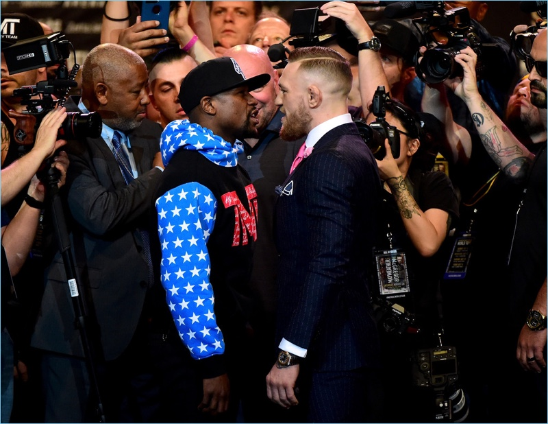 Floyd Mayweather Jr. and Conor McGregor come face to face.