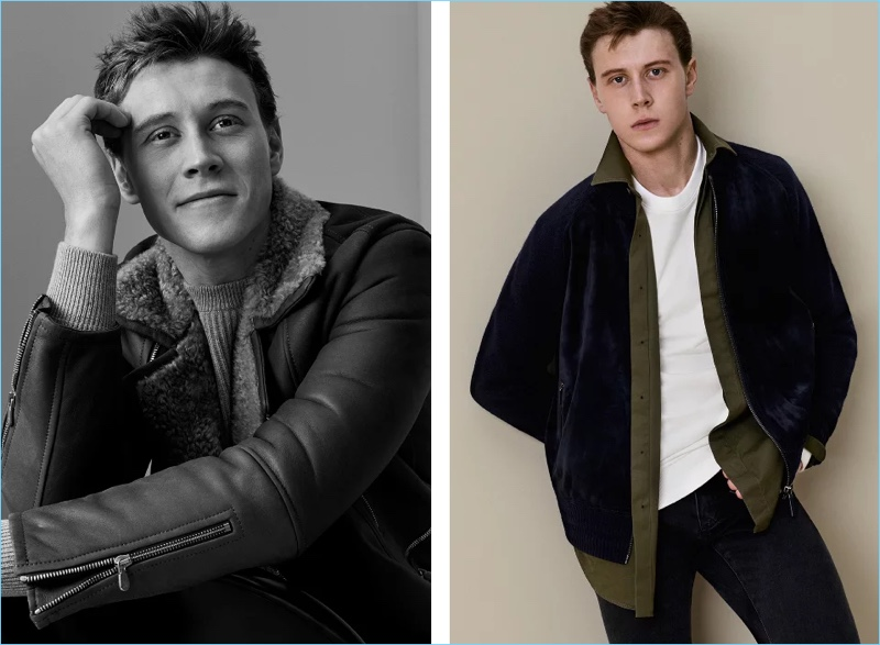 Left: George MacKay dons a Brunello Cucinelli ribbed cashmere sweater $2,095 with a shearling lined leather jacket. Right: George wears a Berluti suede-paneled wool and cashmere blend bomber jacket $3,900. He also rocks a Berluti shirt $650, sweatshirt $650, and denim jeans $690.