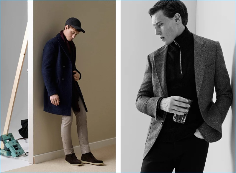 Left: Going semi-casual, George MacKay wears a Loro Piana double-breasted coat $3,500 and cashmere sweater $1,150. He also sports Loro Piana denim jeans $575, chukka boots $1,075, a cashmere baseball cap $550, and scarf $650. Right: George MacKay models a Tom Ford half-zip sweater $1,825 and Berluti denim jeans $690 with a tailored sport coat.