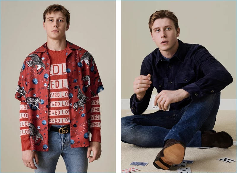 "Left: Making a bold statement, George MacKay wears a Gucci space animals camp-collar shirt $1,050 and ""Loved"" sweater $980. He also sports Gucci distressed denim jeans $750 and a ""GG"" buckle belt $520. Right: Channeling a western flair, George MacKay wears a Ralph Lauren Purple Label suede shirt jacket $2,495. The actor also dons a Ralph Lauren Purple Label linen shirt $450 and Ermenegildo Zegna denim jeans $395."