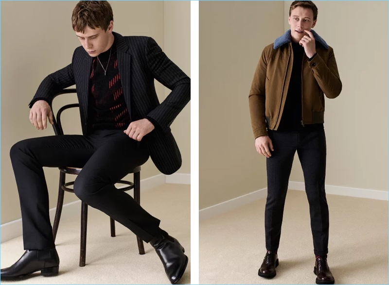 Left: George MacKay wears a pinstripe blazer with a Saint Laurent jacquard-knit sweater $990 and suit trousers $725. He also wears a Saint Laurent silver-tone necklace $395 and Chelsea boots $945. Right: George dons a Prada shearling-trimmed shell flight jacket $1,920. He also sports a Prada zip-detailed sweater $850, trousers $660, and leather oxford shoes $720.