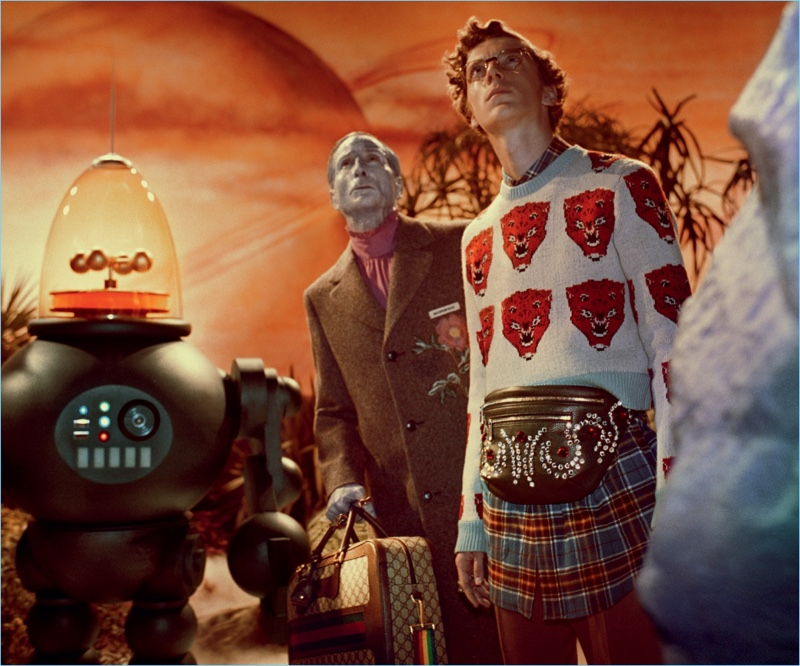 Gucci embraces a retro sci-fi vibe for its fall-winter 2017 campaign.