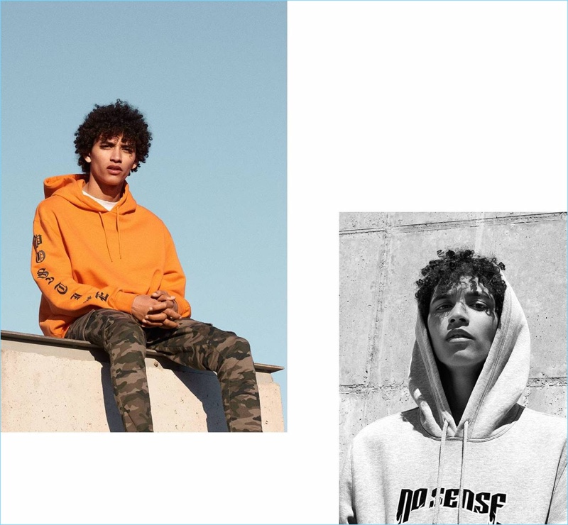 Left: Jackson Hale wears an orange H&M hoodie $29.99 with camouflage cargo pants $34.99. Right: Jackson rocks a H&M Divided Hoodie $29.99.