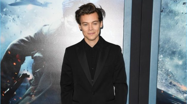 July 2017: Harry Styles wears a pre-spring 2018 Calvin Klein suit to the New York premiere of Dunkirk.