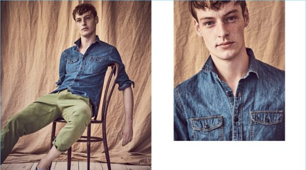 Denim Shirt: Relaxing, Roberto Sipos wears a J.Crew denim workshirt $75, 770 straight fit chino pants $75, and Vans for J.Crew sneakers $60.