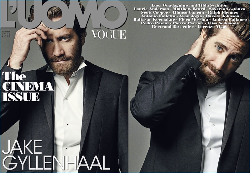 Jake Gyllenhaal covers the September 2015 issue of L'Uomo Vogue.