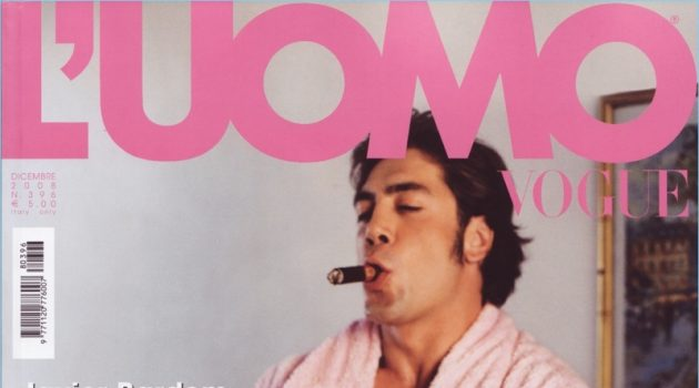 Javier Bardem covers the December 2008 cover of L'Uomo Vogue.