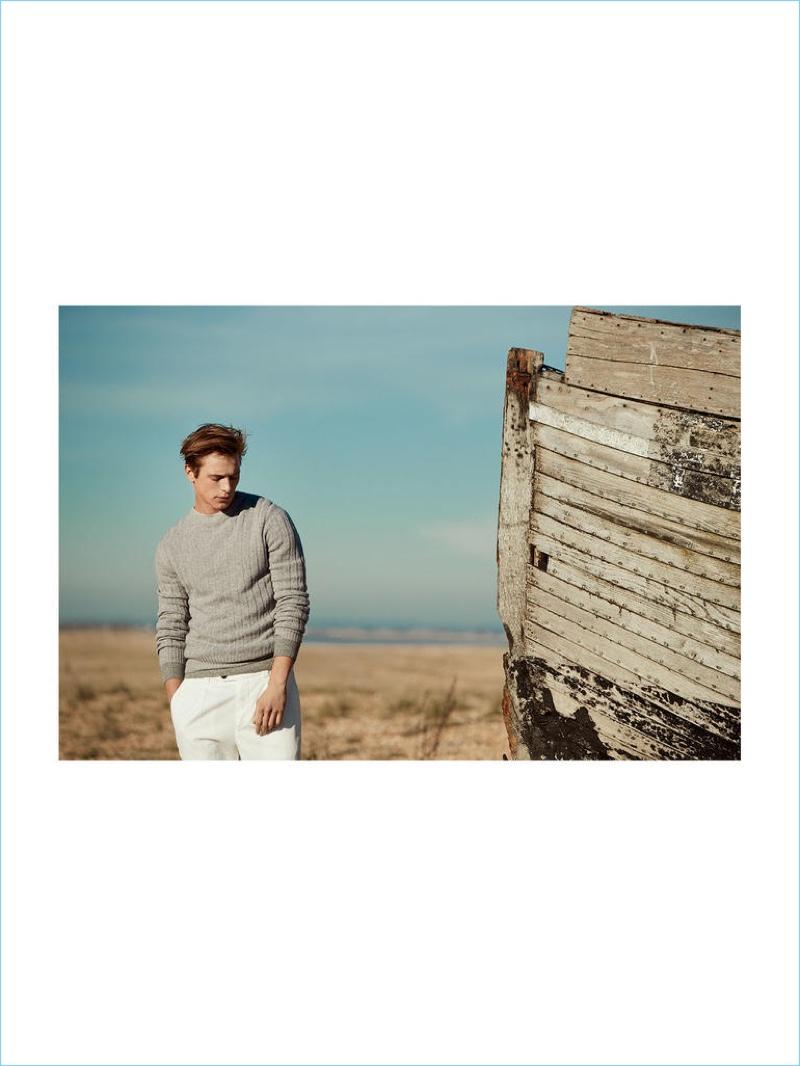 BRUNELLO CUCINELLI sweater £530 and trousers £520; RALPH LAUREN PURPLE LABEL sweater (worn underneath) £830